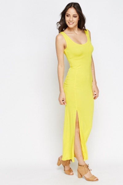 Yellow Slit Hem Maxi Dress