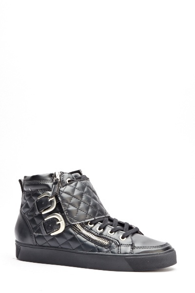 Quilted Buckle Strap High Top Trainers