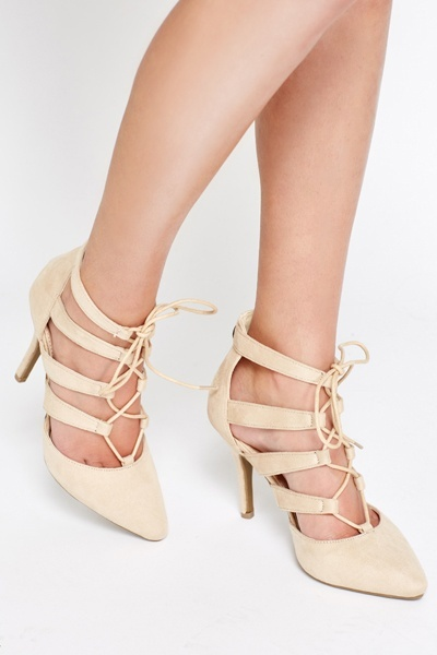 Suedette Strappy Lace Up Heels