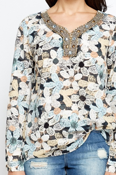 Embellished Neck Floral Top