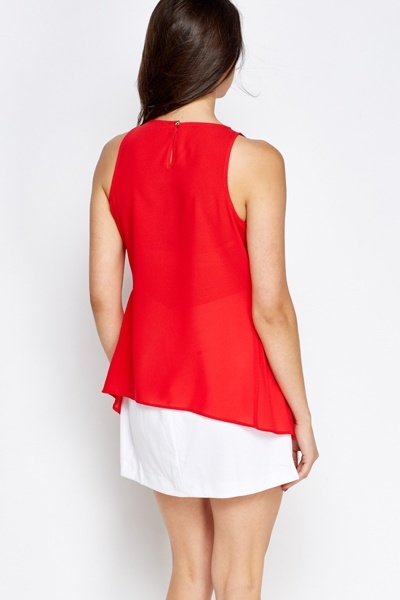 Red Sleeveless A-Line Top