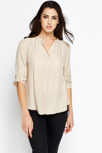 Roll Up Casual Blouse