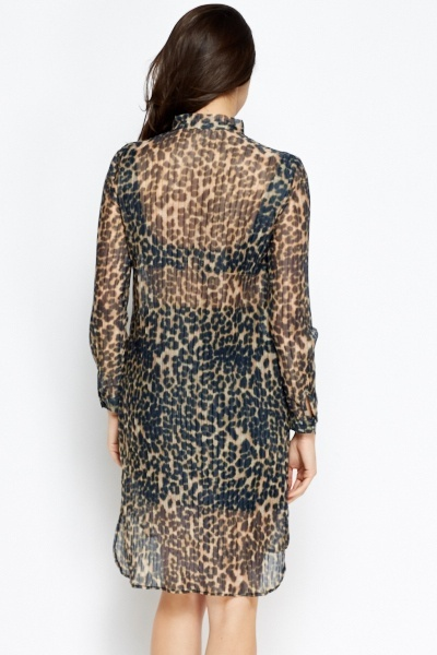 Sheer Leopard Print Shirt Dress