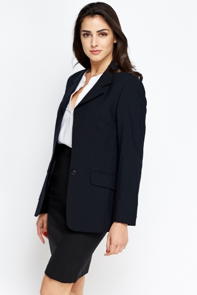 Wool Blend Dark Navy Blazer