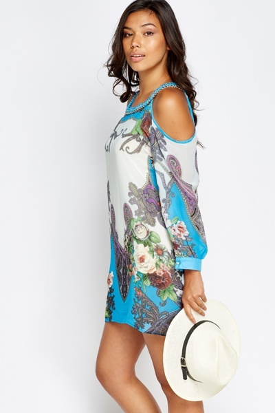 Chain Neck Printed Cold Shoulder Dress