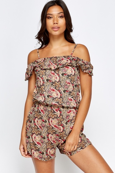 Cold Shoulder Retro Paisley Playsuit