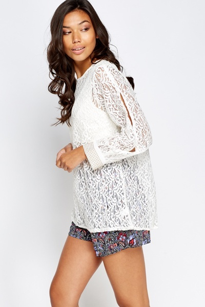 Mesh Lace Encrusted Sleeve Top