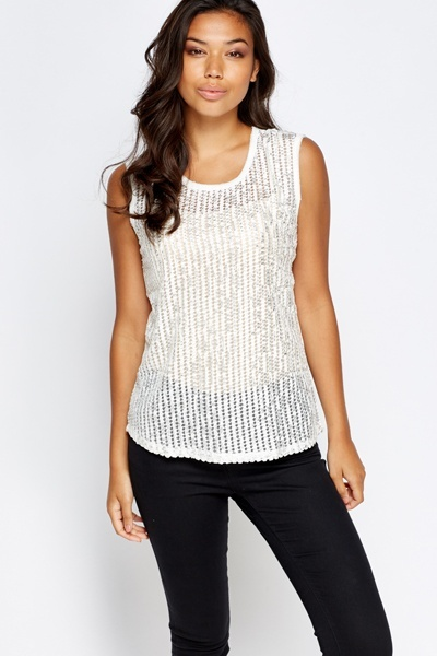 Metallic Mesh Front Top
