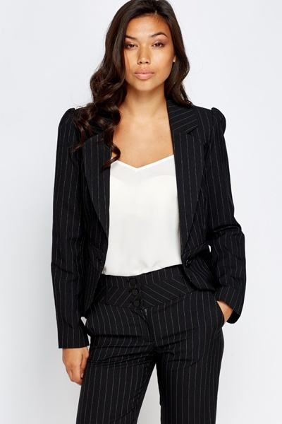 Pinstriped Black Fitted Blazer