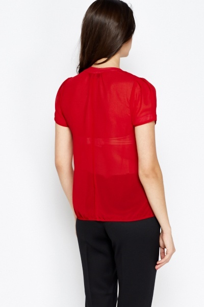 Pleated Front Red Blouse