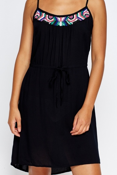 Beaded Front Black Dress