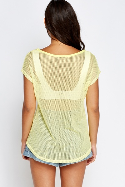 Fish Net Encrusted Front Print Top