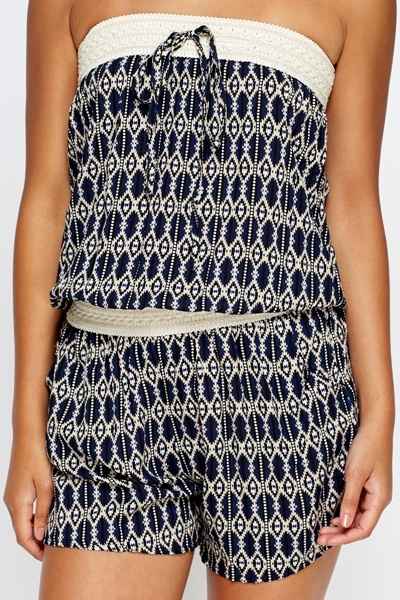 Printed Elasticated Bandeau Playsuit
