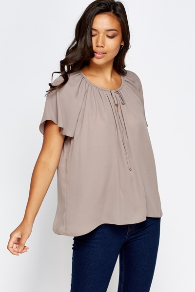 Tie Up Neck Taupe Blouse