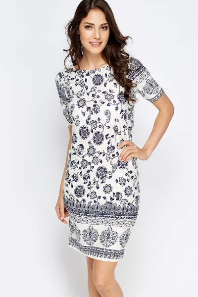 Contrast Border Navy Shift Dress
