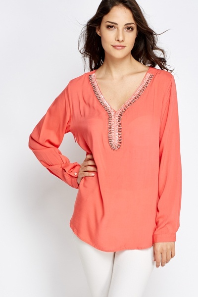 Light Weight Encrusted Neck Top