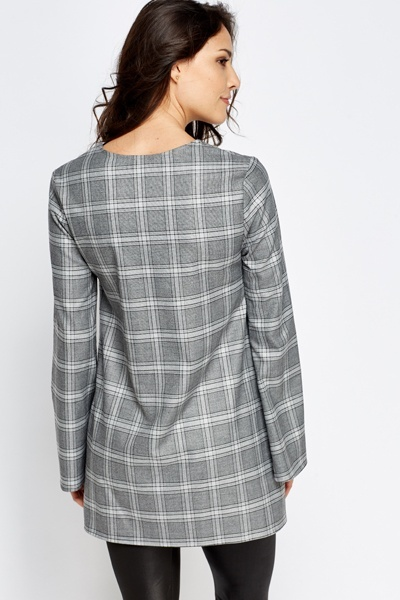 Longline Grey Checked Top