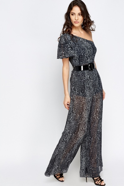 One Shoulder Belted Jumpsuit