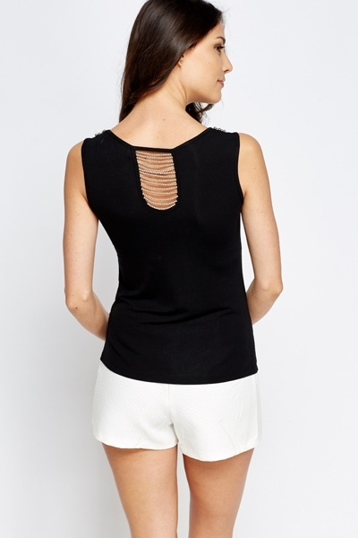 Sleeveless Encrusted Neck Top