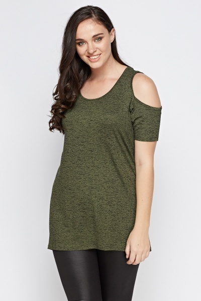 Cold Shoulder Dip Hem Top