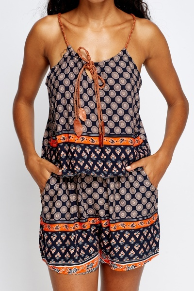 Contrast Strap Printed Playsuit