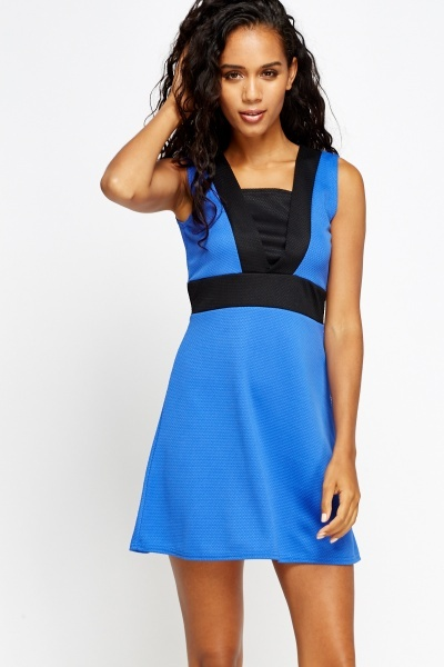 Textured Contrast Swing Dress