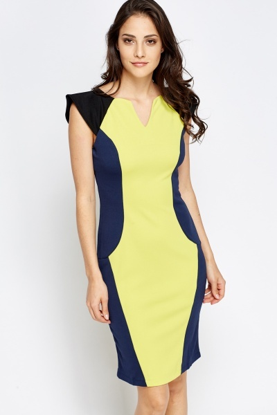 Colour Block Cap Sleeve Dress