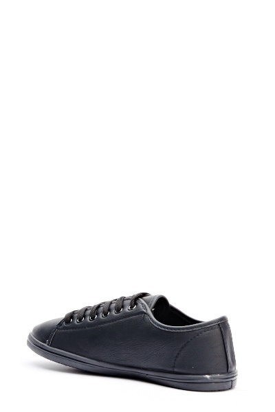 Dark Black Faux Leather Trainers - Just $6