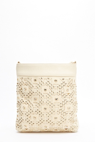 Geo Cut Out Studded Crossbody Bag