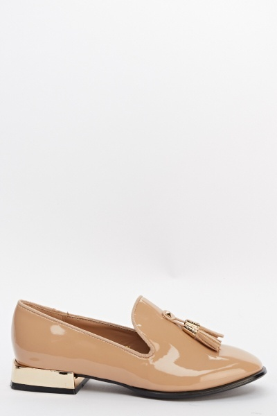 Pointed Contrast Heel Loafers