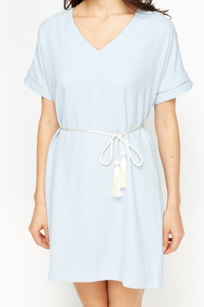 Contrast Trim Belted Shift Dress