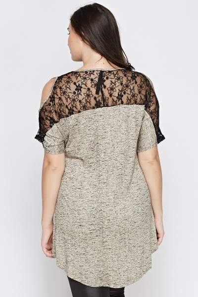 Lace Cold Shoulder Speckled Top