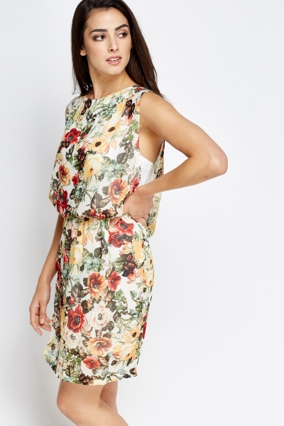 Printed Overlay Elasticated Dress