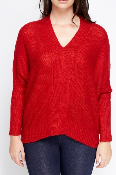 Batwing V-Neck Jumper