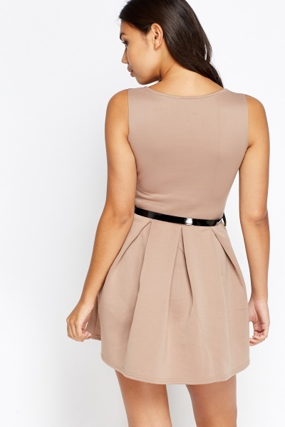 Belted Skater Mini Dress