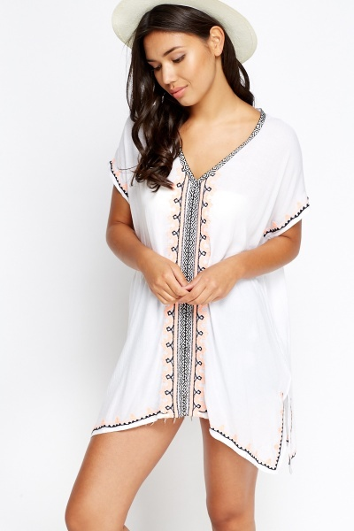 Embroidery Trim White Beach Cover Up