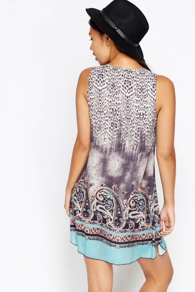 Mix Print Lace Up Dress