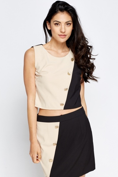 Mono Button Detail Crop Top