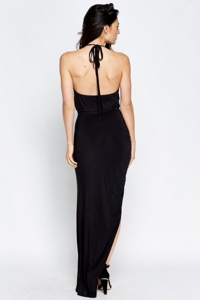 Plunge Halterneck Maxi Dress