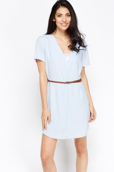 Contrast Belted Dress