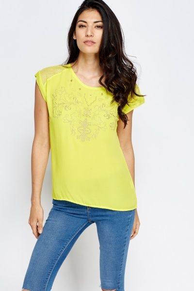Encrusted Front Dip Hem Top