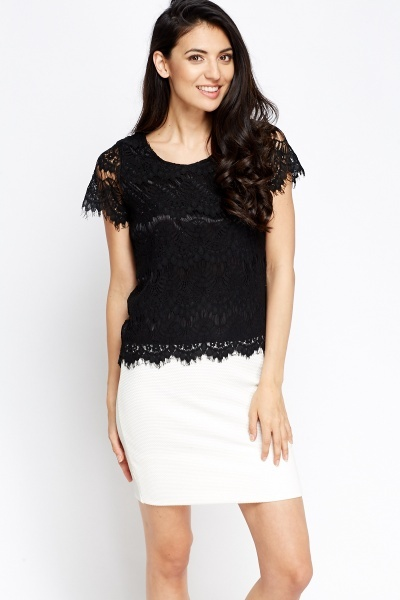 Lace Overlay Bow Back Top