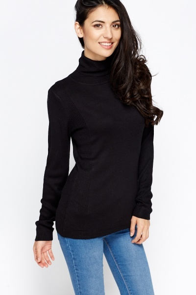Ribbed Trim Cotton Roll Neck Jumper