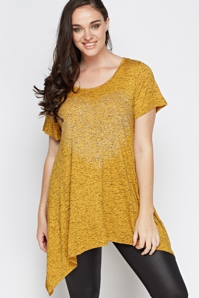 Studded Heart Asymmetric Speckled Top