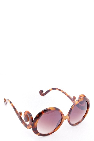 Brown Swirl Temple Oval Sunglasses
