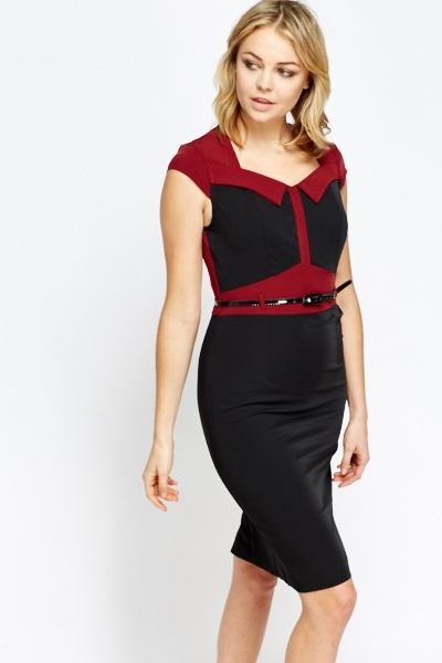9a1620321e Contrast Belted Midi Dress