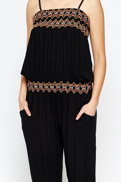 Embroidered Trim Jumpsuit