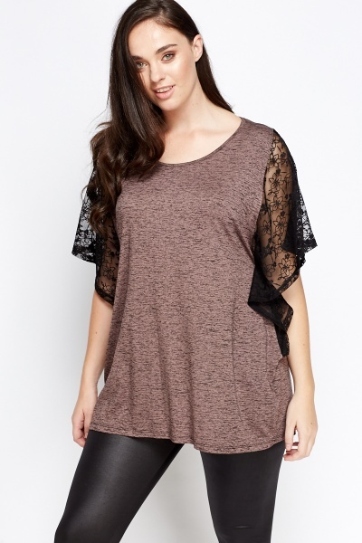 Lace Sleeve Speckled Top