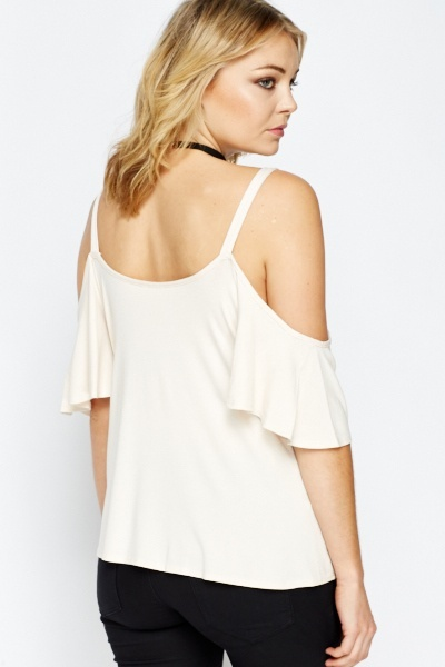 Light Peach Cold Shoulder Top
