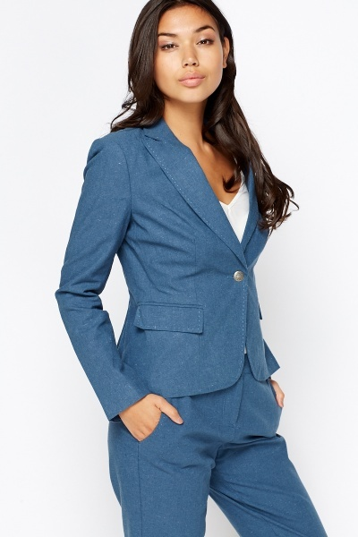 Linen Blend Middle Blue Blazer
